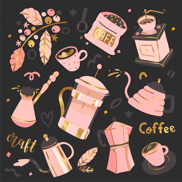 Коллекция кофейных иллюстраций Premium векторы