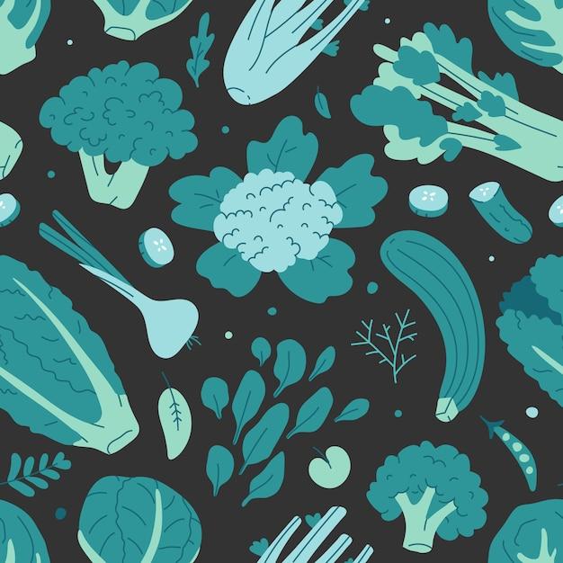 さまざまな緑の野菜とのシームレスなベクターパターン Premiumベクター
