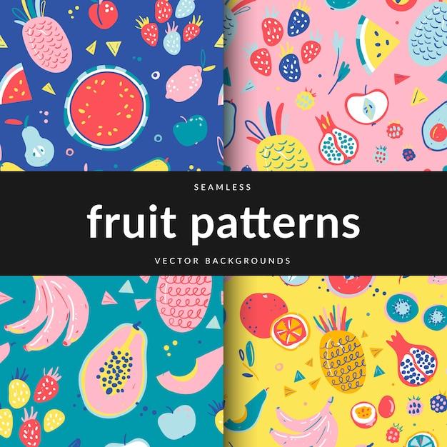 Набор бесшовных узоров с различными фруктами Premium векторы