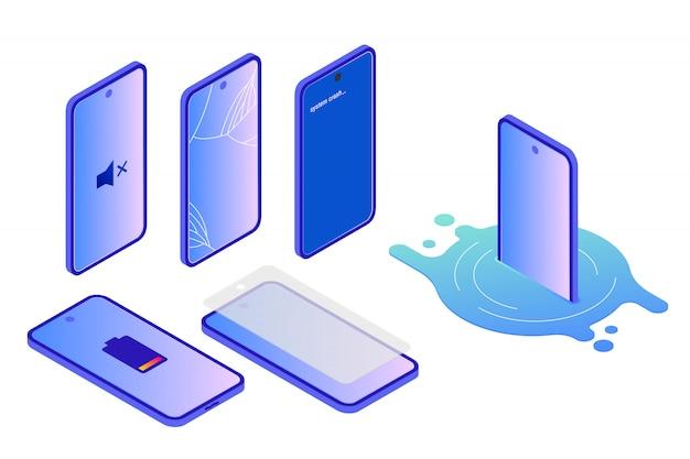Различные виды повреждений смартфона, изометрические Premium векторы