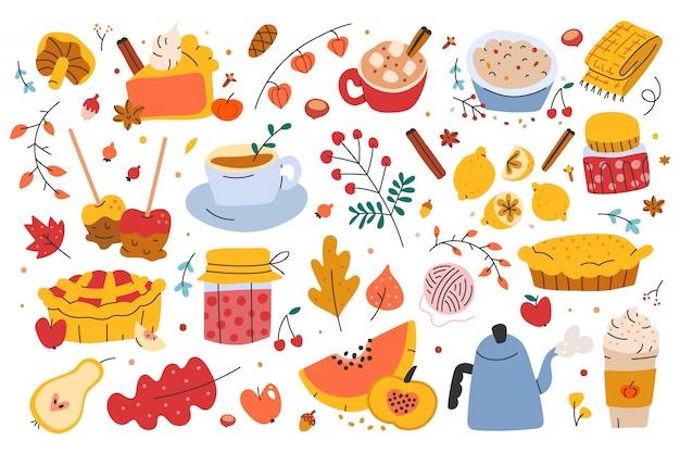 Иллюстрации осенней сезонной еды и напитков Premium векторы