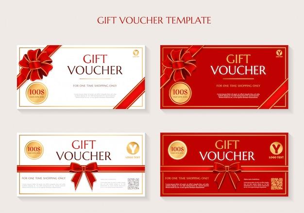 Набор шаблонов подарочных сертификатов Premium векторы