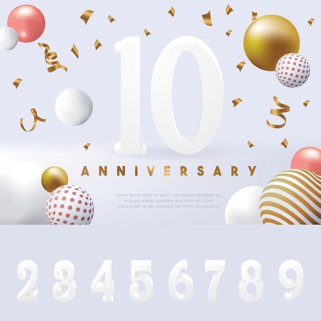 Редактируемый шаблон годовщины баннера Premium векторы