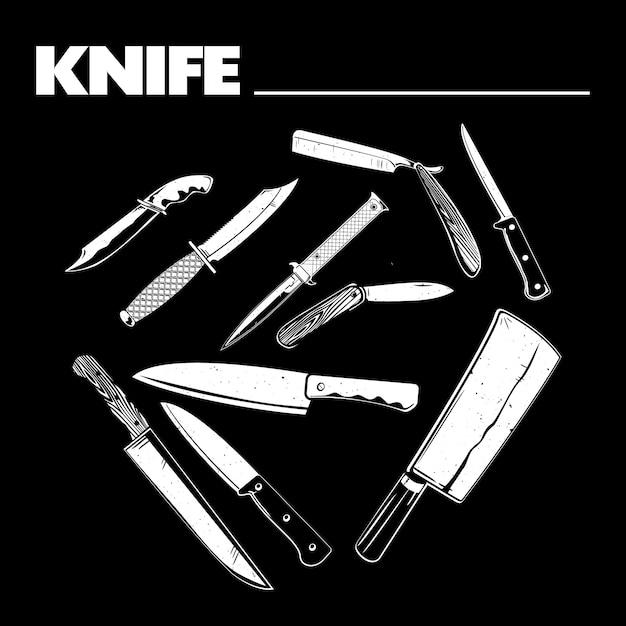 さまざまなナイフの図 Premiumベクター