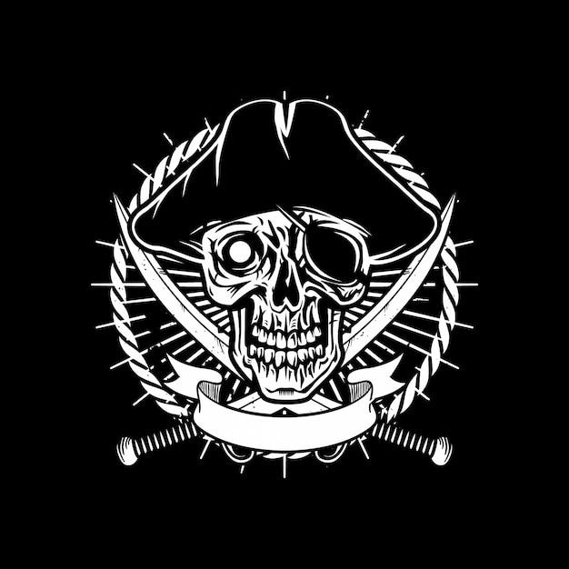 Пиратный череп логотип Premium векторы