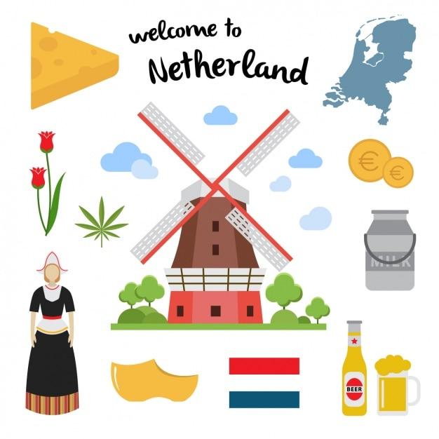 オランダの要素のコレクション 無料ベクター