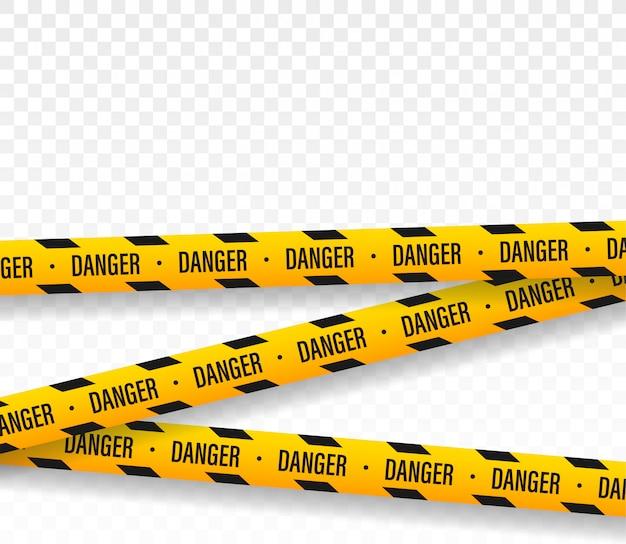 危険。警察のラインはテープのデザインを交差させません。 Premiumベクター