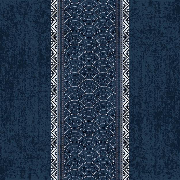 伝統的な白い日本の刺繍と刺し子インディゴの染料のパターン Premiumベクター