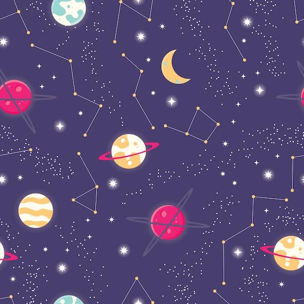 宇宙と惑星と星のシームレスなパターン Premiumベクター