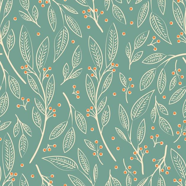 シームレスパターンデザインの手描きの花と花の要素 Premiumベクター
