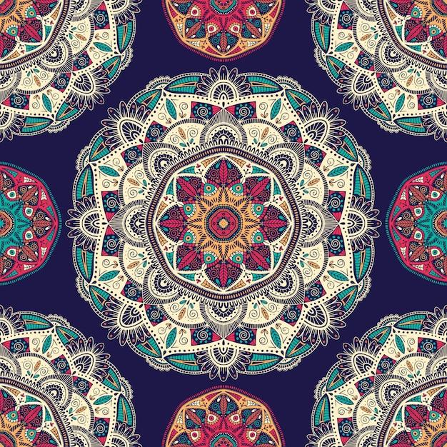 Бесшовные с декоративными цветочными этнических мандал Premium векторы