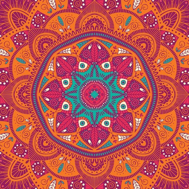 Красочная декоративная цветочная этническая мандала Premium векторы