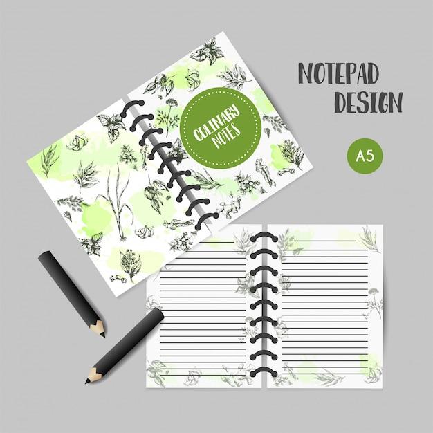 ハーブとスパイスの料理本。ハーブ、植物、スパイス手描きのノートデザイン。 Premiumベクター
