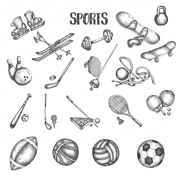 スポーツヴィンテージ手描きのベクトルイラスト。スポーツとフィットネスの落書きセット。 Premiumベクター
