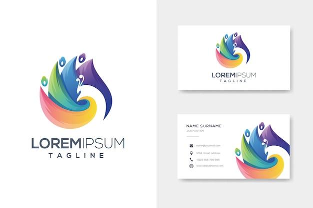 名刺とカラフルな抽象的な孔雀のロゴ Premiumベクター
