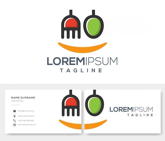 名刺デザインと食品レビューのロゴのテンプレート Premiumベクター