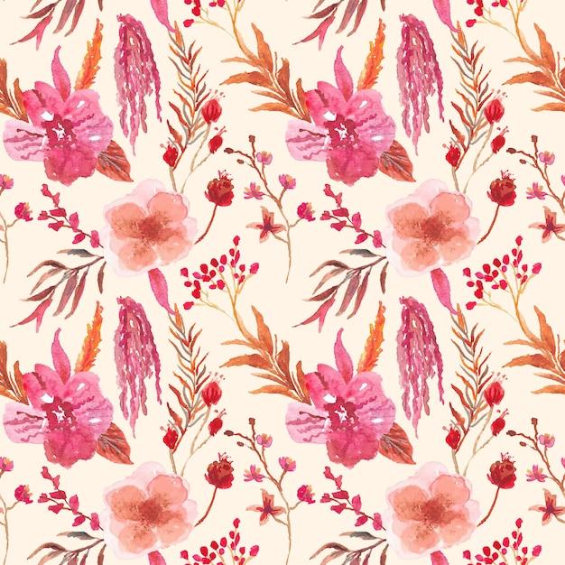 あずき色の蘭の花の水彩画のシームレスパターン Premiumベクター