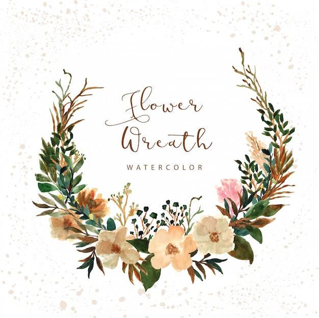 Деревенские цветы венок акварель Premium векторы