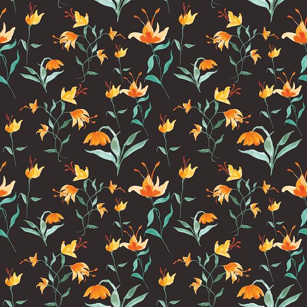 Акварельный цветок бесшовный фон Premium векторы