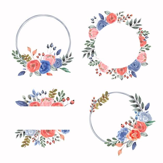 水彩花のフレームと花輪のコレクション Premiumベクター