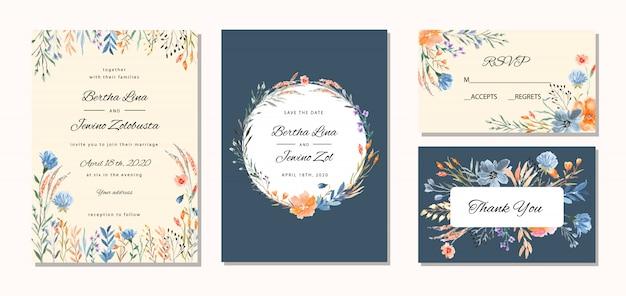 Стильное свадебное приглашение с цветочным акварельным фоном Premium векторы