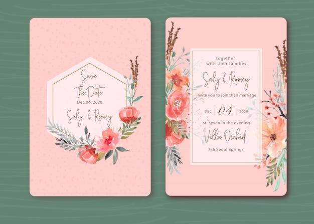 美しい花の水彩画とピンクの招待状 Premiumベクター