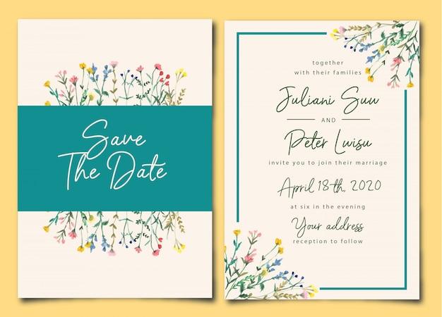 Красивое свадебное приглашение дикая цветочная акварель Premium векторы