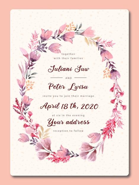 水彩で結婚式の招待状ピンクの花 Premiumベクター