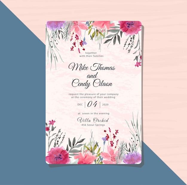 Свадебное приглашение с фиолетовым цветком акварелью Premium векторы