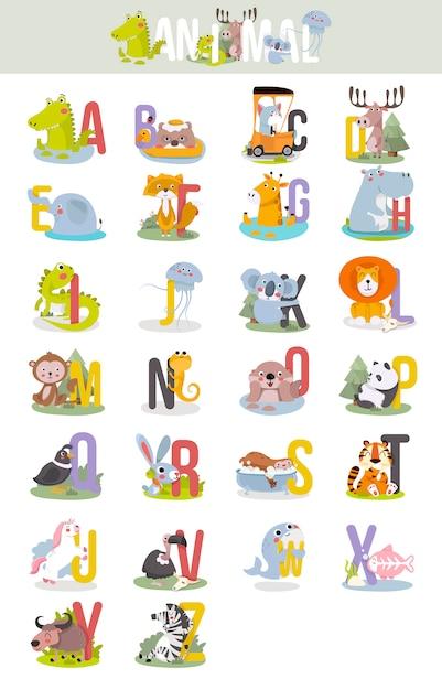 Животный алфавит графика от а до я. Premium векторы
