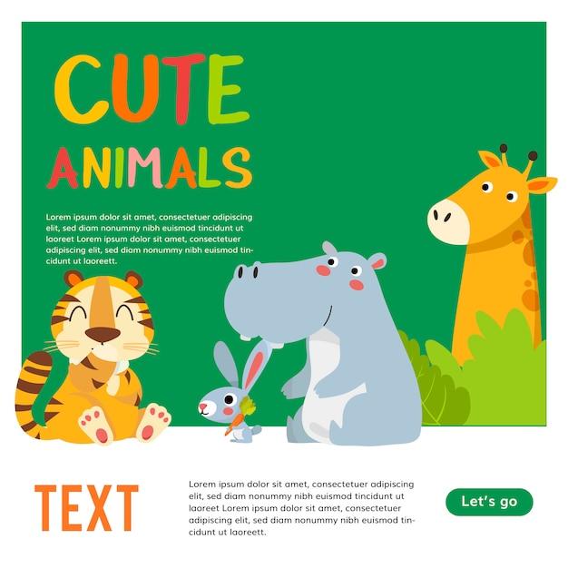 Шаблон плакат с зоопарком животных. милая иллюстрация шаржа животных джунглей. Premium векторы