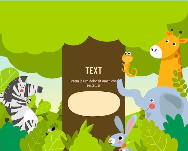 テキストテンプレートと動物園の動物 Premiumベクター