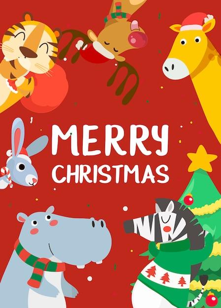 Веселая рождественская открытка с тигром, кроликом, бегемотом, жирафом, оленем и зеброй. Premium векторы