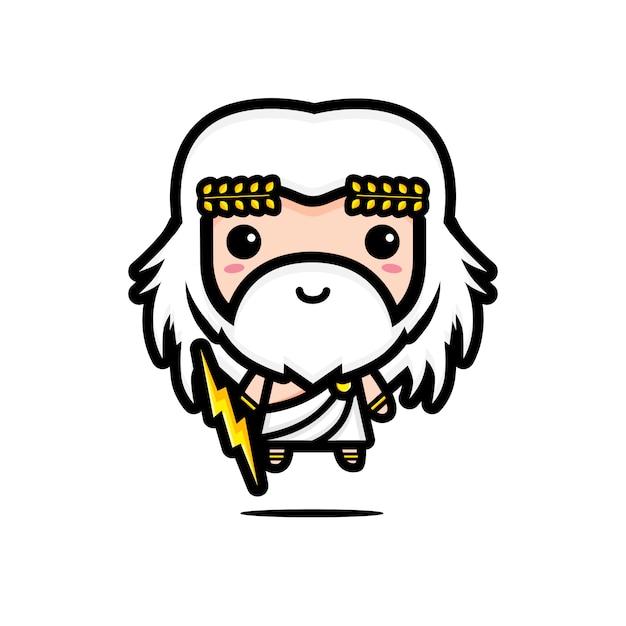 Милый персонаж зевса Premium векторы