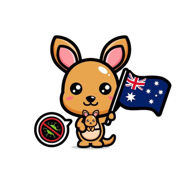 カンガルーはコロナウイルスを禁止するオーストラリアの旗を掲げています Premiumベクター