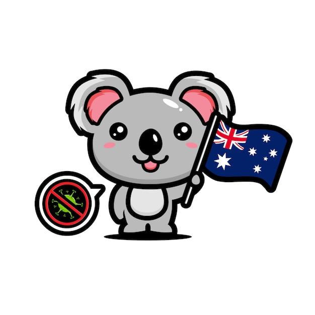 コアラはコロナウイルスを禁止するオーストラリアの旗を掲げています Premiumベクター