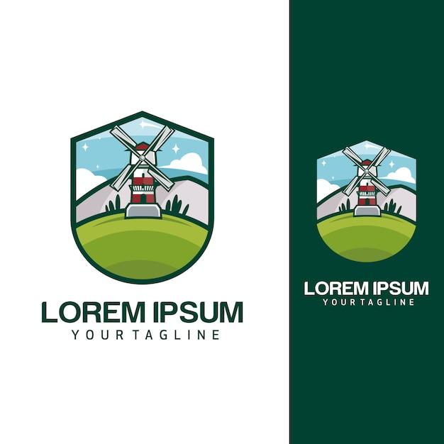 Мельница логотипы Premium векторы