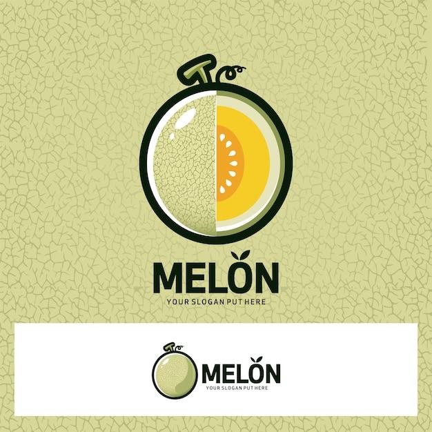 Логотип с фруктами дыни Premium векторы