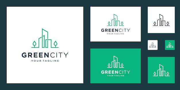 緑豊かな街のロゴデザインテンプレートの建物。環境に優しい建物のシンプルなアウトライン記号。 Premiumベクター