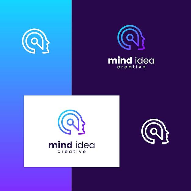 Вдохновляющий логотип для ума, мозга, инноваций, людей с простыми стилями линий Premium векторы
