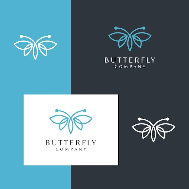 シンプルなラインデザインスタイルの美しい蝶のロゴ Premiumベクター