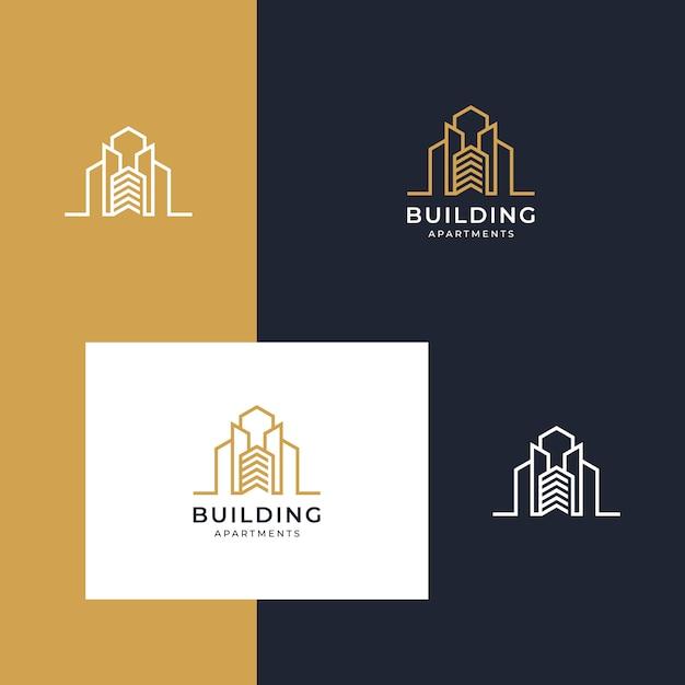 直線的なスタイルのインスピレーションを与えるロゴの構築 Premiumベクター