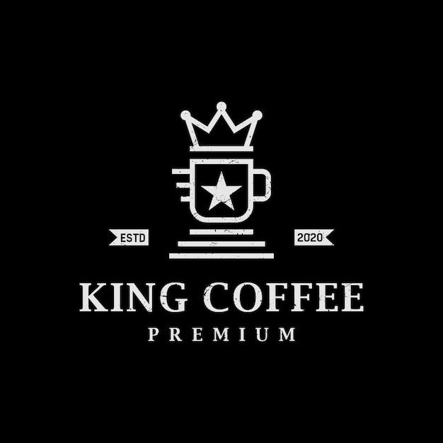 Урожай ретро королевский кофе дизайн логотипа Premium векторы