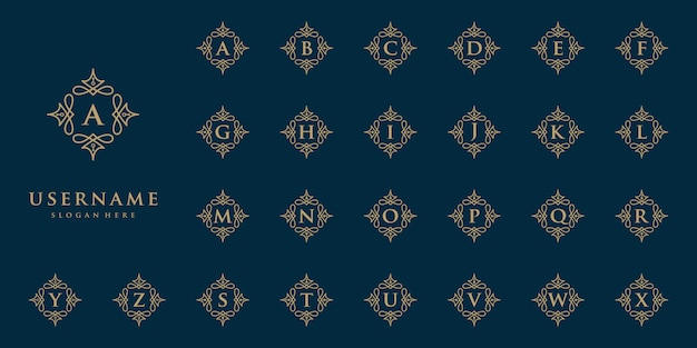 Бутик дизайн логотипа инициалы алфавит Premium векторы