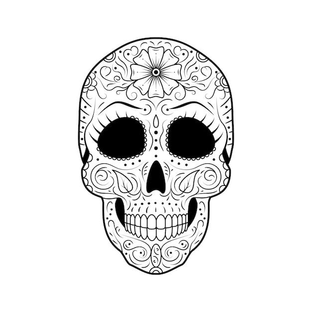 День мертвого сахарного черепа с подробным цветочным орнаментом. Premium векторы