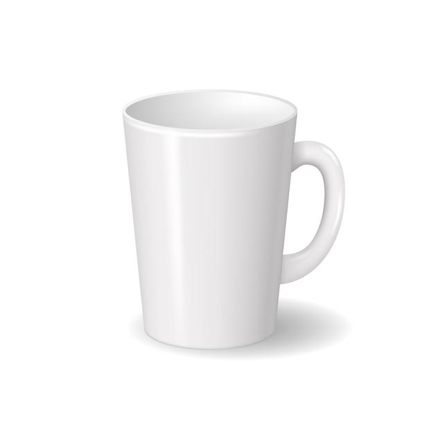 影付きの現実的な孤立した白いセラミックカップ。ブランドデザインのテンプレート Premiumベクター
