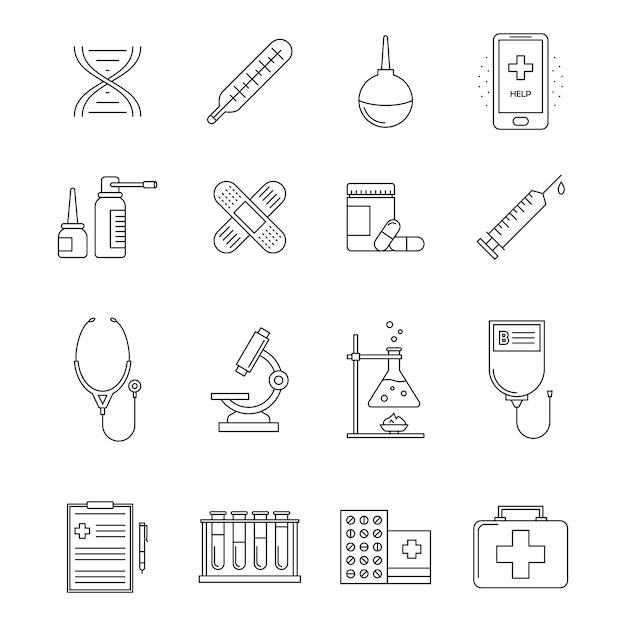 Коллекция иконок линии медицины Premium векторы
