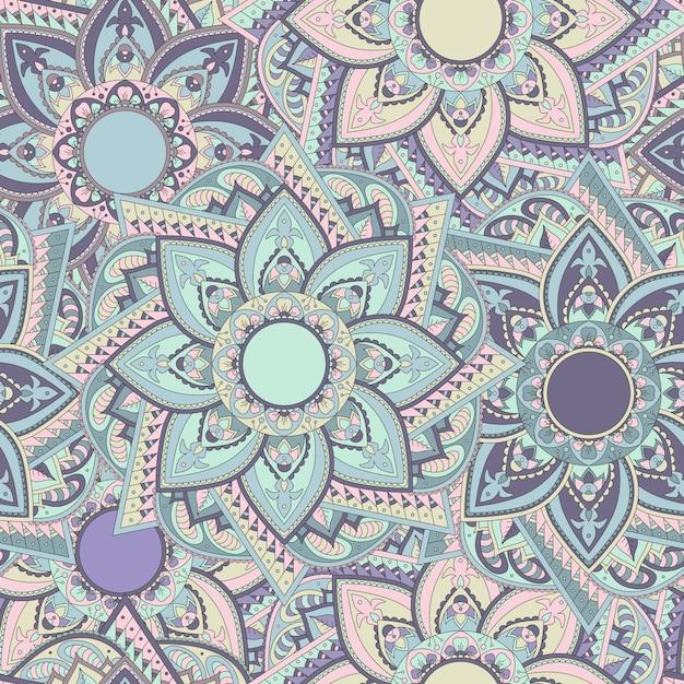Старинные красочные бесшовные восточные мандалы шаблон. восточно-индийский стиль. Premium векторы