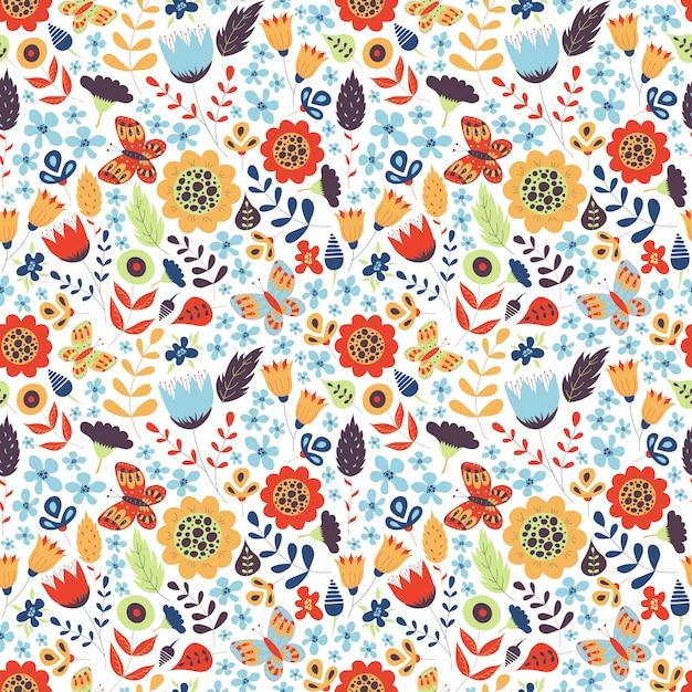 Цветочный фон с цветами. ботанический природный орнамент. симпатичная текстура Premium векторы