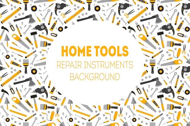Плоские рабочие дома инструменты фон Premium векторы